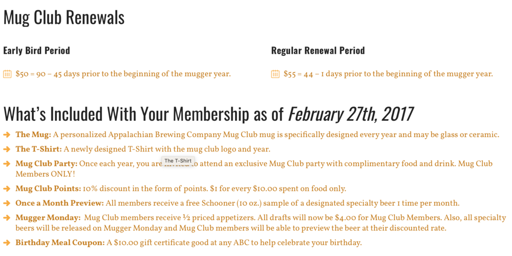 Appalachian Brewing Company Mug Club - renewal notes are important for this one