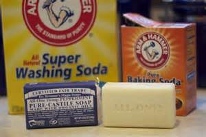 Landry soap - 55 ounces box Arm & Hammer Super Washing Soda1 regular small box of Baking Soda4 ounces Castile or Chemical Free Soap of choice (liquid or bar)½ gallon or larger container with lidDirections: Pour washing soda & grated soap or liquid soap into container and shake or stir vigorously until well mixed.Store in a cool, dry place.