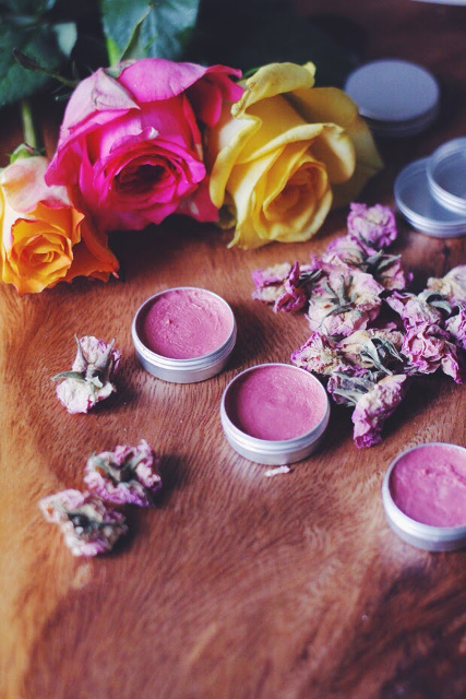 Rose lip balm - ¼ cup Beeswax¼ cup Rose Petals (fresh or dried)2 tablespoons Coconut Oil2 tablespoons Shea Butter1 teaspoon Vanilla Extract1 teaspoon Olive OilDirections:Melt beeswax and shea butter in a pot on the stove on low.Add coconut and olive oil, vanilla extract and rose petals. Stir with fork to ensure no lumps.Pour into empty lip balm containers. These set up SO quickly!