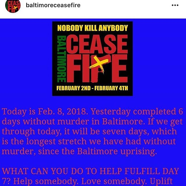 Another repost from @baltimoreceasefire, the city is at peace another day. #BaltimoreCeaseFire #teambetterbaltimore