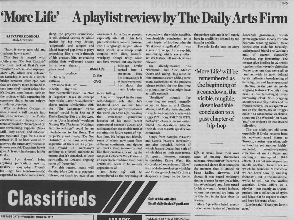 'More Life' - A playlist review by the Daily Arts Firm