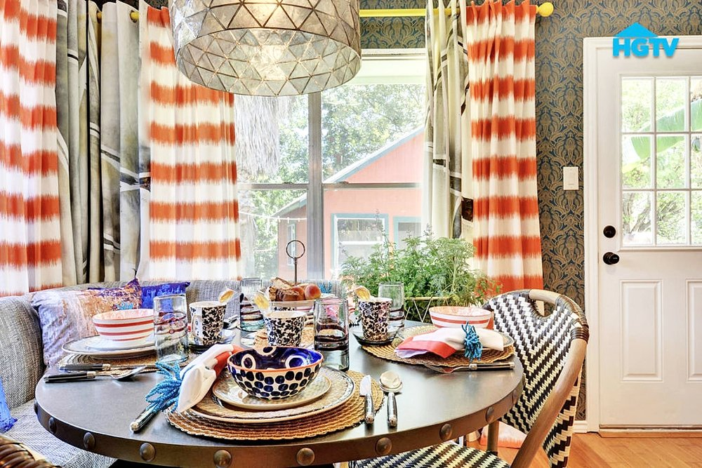 Turnstyle loves to make elaborate custom window treatments for the homes we design. This is a fun way to add drama to a room with colorful patterns and interesting designs.