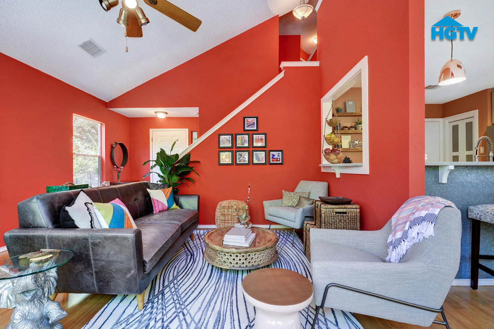 HGTV   With a first home and lots to tackle as they move in, this young couple turned to us via HGTV to update their space. Fresh, vibrant and more open, were the main objectives here and pattern and positivity fall right in line with our custom pieces in this space. These new home owners are all set to begin many memories.   See more