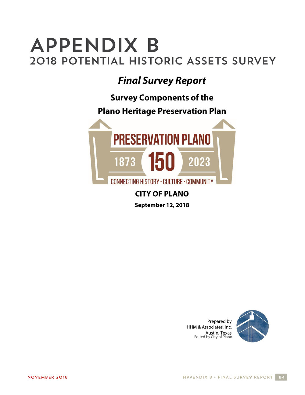 Appendix B - 2018 Potential Historic Assets Survey