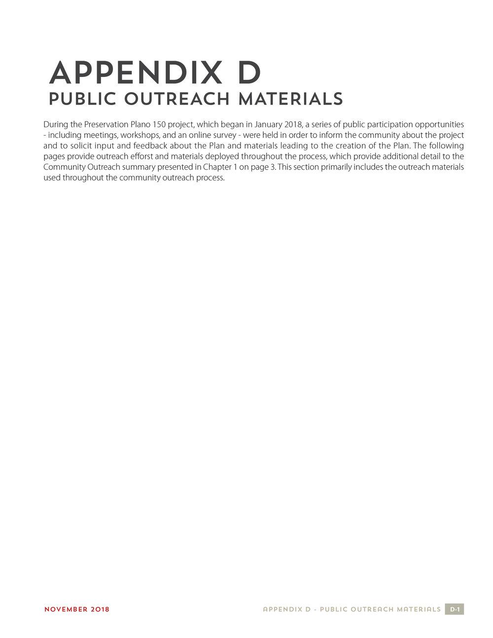 Appendix D - Public Outreach Materials