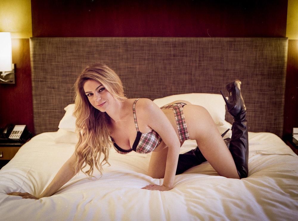 Kylie Kohl in Black lingerie shot on kodak Portra 800