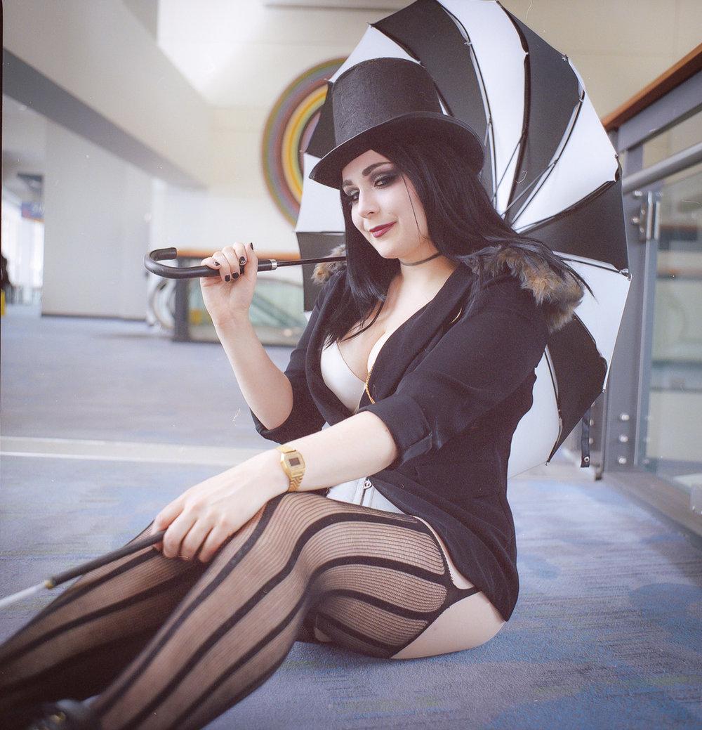 C2E2 kodak portra film cosplay portrait sexy lady penguin