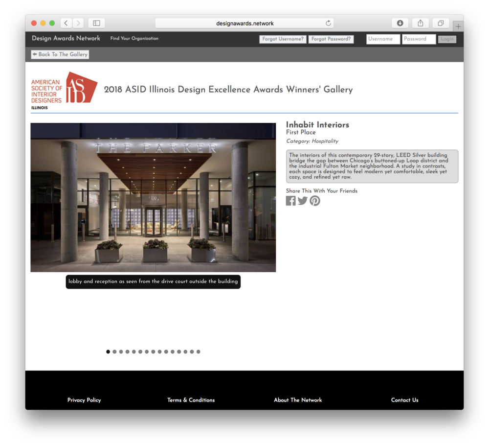 American Society of Interior Designers— Inhabit Interiors First Place Hospitality Design Award