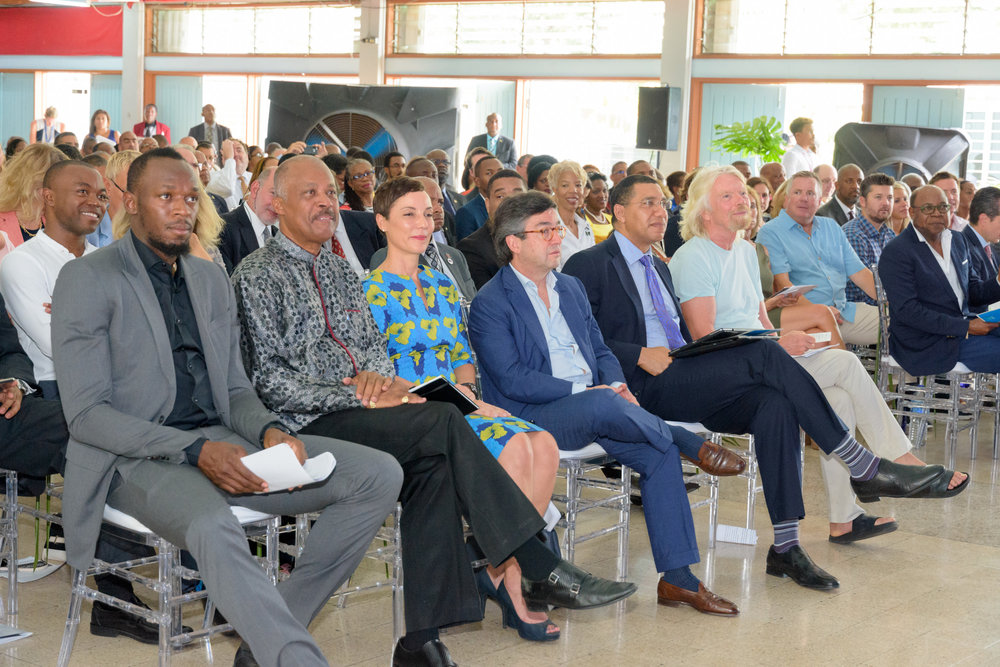 L-R: Usain Bolt, Sir Hilary Beckles, Vice Chancellor of UWI, Minister Kamina Johnson Smith, President of the IDB Luis Alberto Moreno, The Honourable Andrew Holness, Prime Minister of Jamaica and Sir Richard Branson