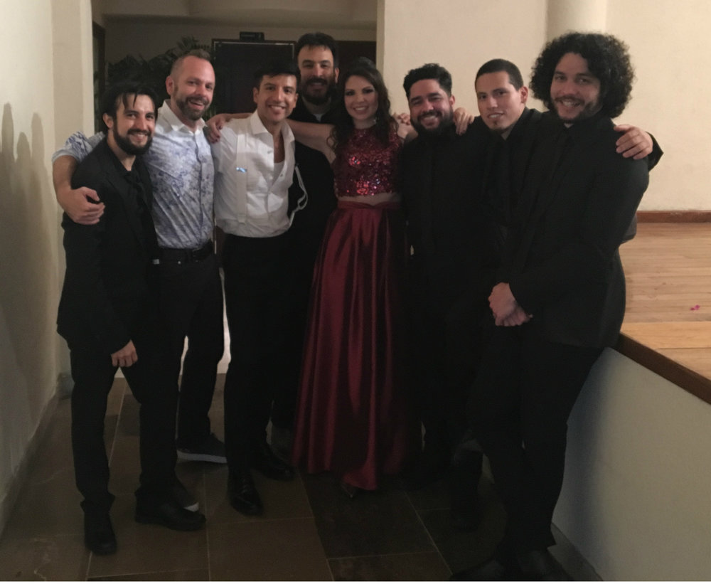 Following our sold out performance in Cordoba, Mexico:    Felipe Fournier   , vibes/music director,    Jeremy Williams   , producing director,    Rafa Reyes   , creator/performer,    Hugo Moreno   , trumpet,    Nedelka Sotelo   , guest singer,    Jonathan Gomez   , percussion,    Dan Martinez   , bass. 2017. Photo courtesy CTC Archives.