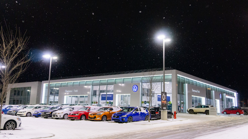 Job Name:  Sherwood Park Volkswagen   Contractor:  Carlson Construction   Description:  A new 70,000 square foot ground-up two storey Volkswagen car dealership in Sherwood Park, with a heated underground parkade and a complete mechanics service shop.