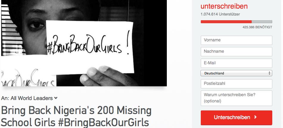 Die Online-Petition #BringBackOurGirls hat über 1 Millionen Unterstützer erreicht
