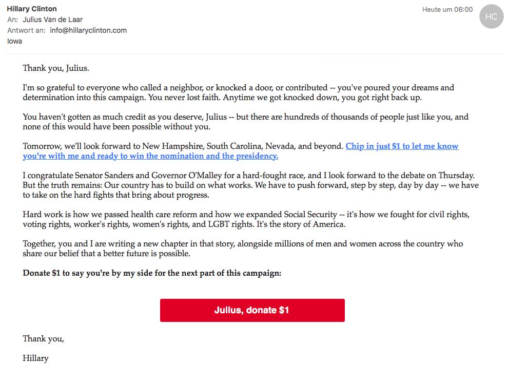 Spendenaufruf von Hillary Clinton via E-Mail