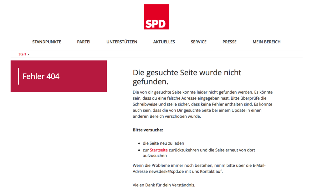 Die Fehlerseite der SPD