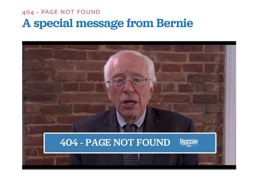 Bernie Sanders 404 Seite