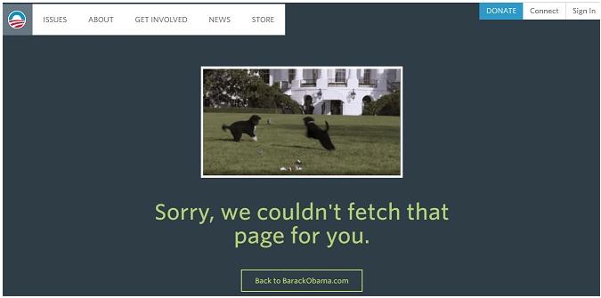 Barack Obama 404 Seite