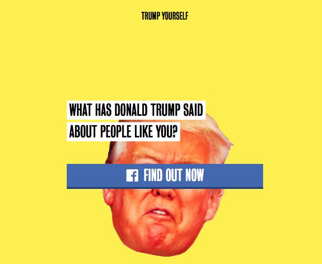 Ein Generator auf einer von Clintons Team generieren Landing page fordert auf zum #trumpyourself