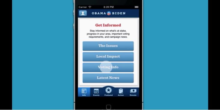 So sah in 2012 die Obama-eigene App aus, in der man Informationen zur Beteiligung an der Kampagne erhielt, die neusten Informationen über Obamas Präsidentschaftswahlkampf erhielt, oder auch einfach nur spenden konnte