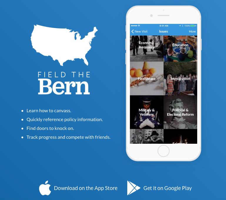 Die eigene App von Bernie Sanders galt spielerisch der Daten -Generierung.