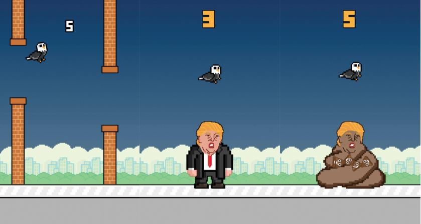 """Die App """"Trump Dump"""" bricht einen traurigen Rekord für den Präsidentschaftskandidaten- unter den 171 mobilen Apps, die sich mit ihm beschäftigen hält diese mit 1,8 Millionen Downloads den absoluten Rekord"""