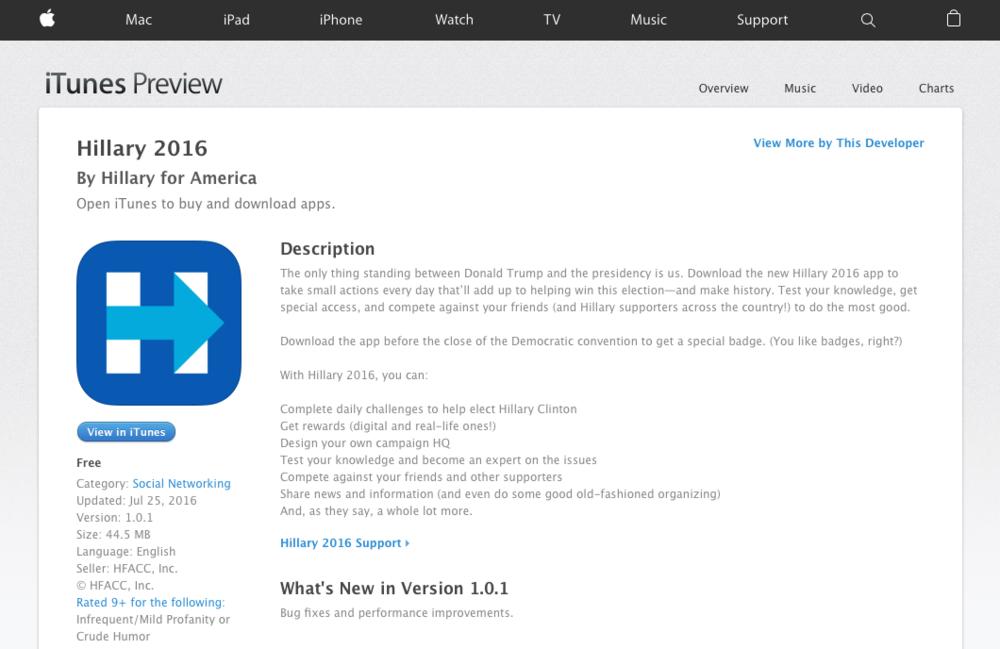 """Die App- Beschreibung der """"Hillary 2016""""- Applikation ist an sich schon ein klarer Call- to - action"""