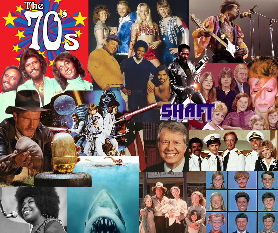 Image collage with the words The 70's in upper left hand corner - images are of 1970's era celebrities and characters including Indiana Jones, Shaft, Star Wars, The Love Boat, and more.