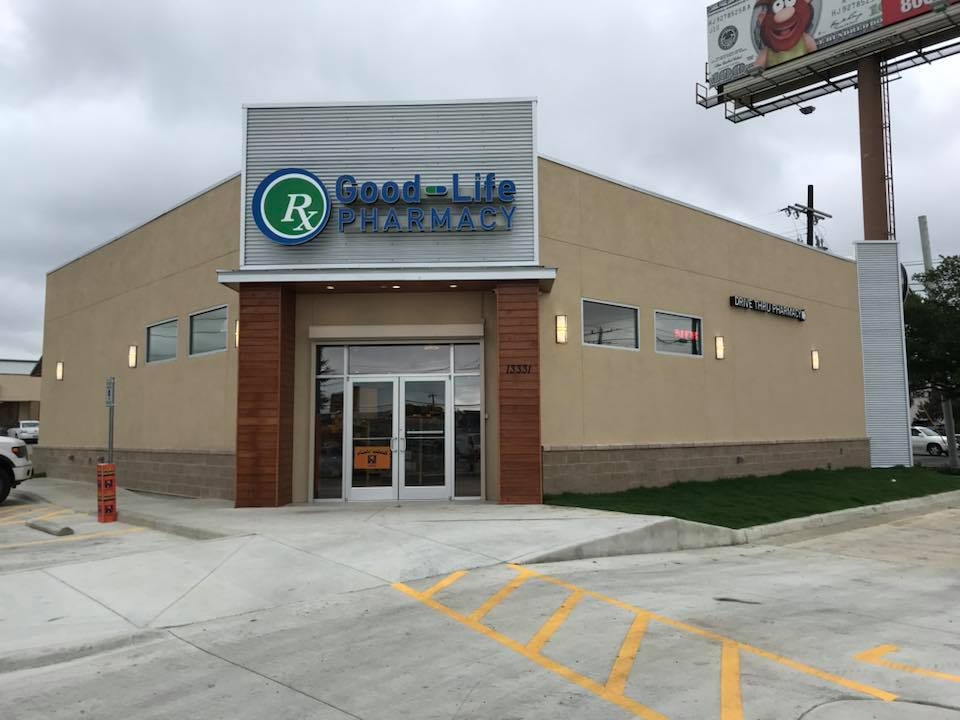 Good-Life Pharmacy, San Antonio TX - 60 Mil - Verisco TPO roof system, wall panels and standing seam roof awnings