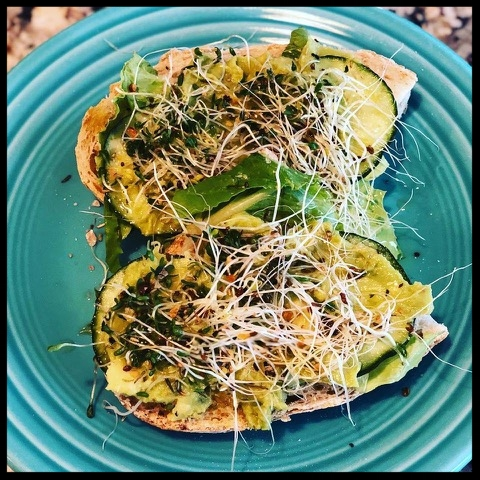 San Fran Sandwich - Organic San Francisco Sourdough (from Whole Foods) slice and add a layer of each avocado, hearts of romaine, cucumber, alfalfa sprouts with olive oil, rosemary, garlic, salt & pepper…quick and easy lunch. So delicious.