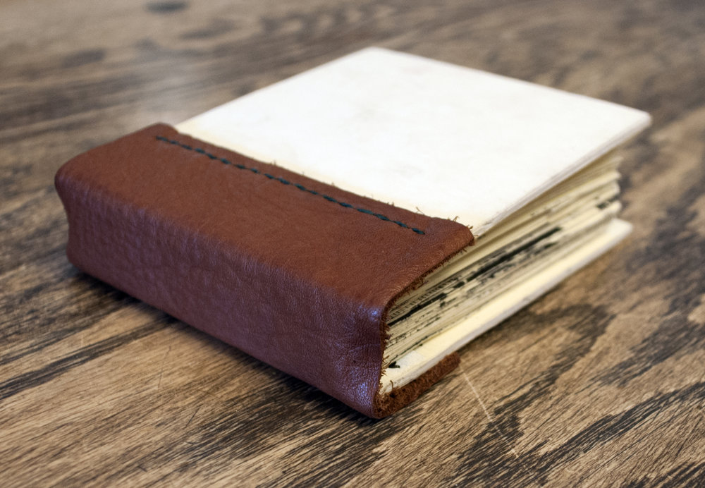 A few months of wear and tear, this sketchbook lives in my purse.