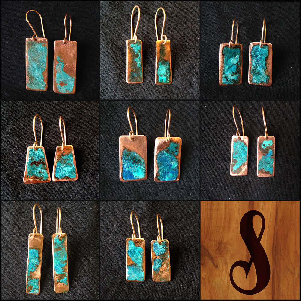 Copper Patina Earrings.
