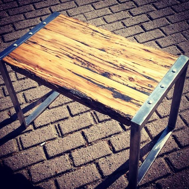 Rustic industrial end table.  Sold.