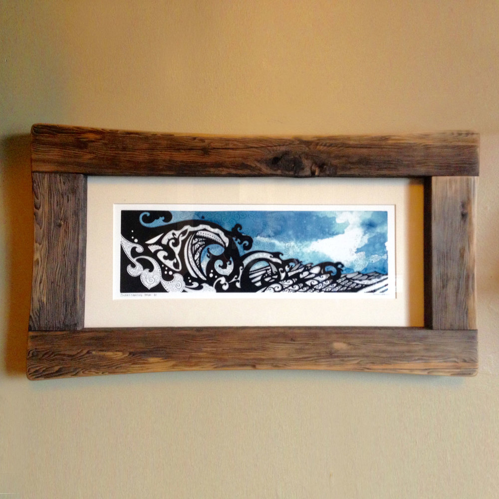 Driftwood frame with print of Rika's Cox Bay Charging painting.  Sold.  Contact for commission.