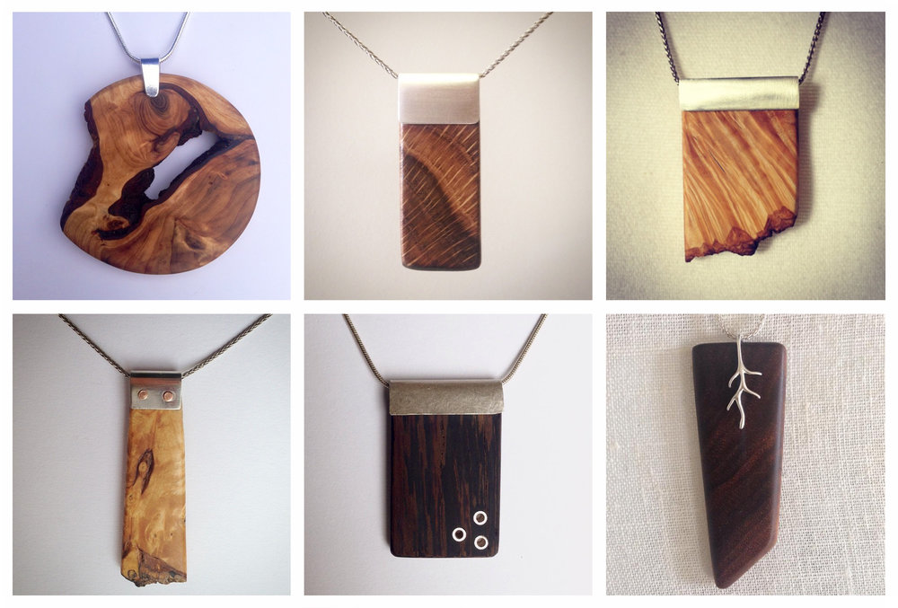 Selection of wood pendants.