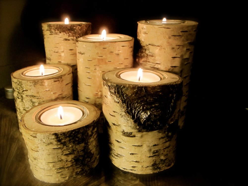 Birch candle holders. Sold.