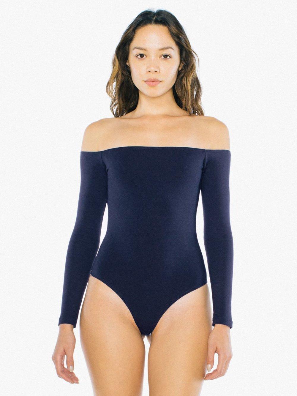 Cotton Spandex Off-Shoulder Bodysuit