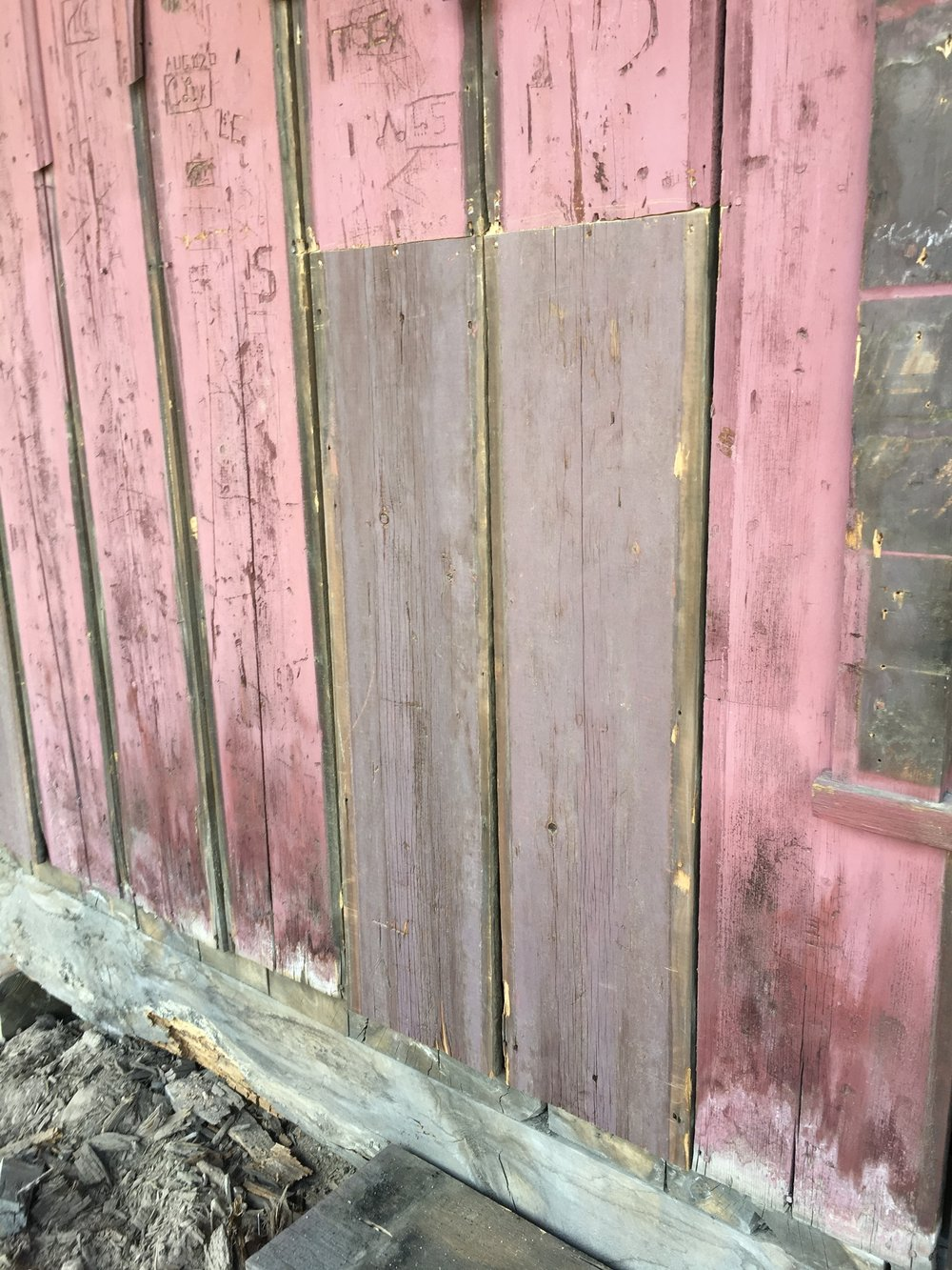 We uncovered the original color of the building from underneath a 20th Century addition. Here you can see how the exposure of 10,200' and heavy winters faded the original purple of the depot into a barn red. We're bringing the purple back!