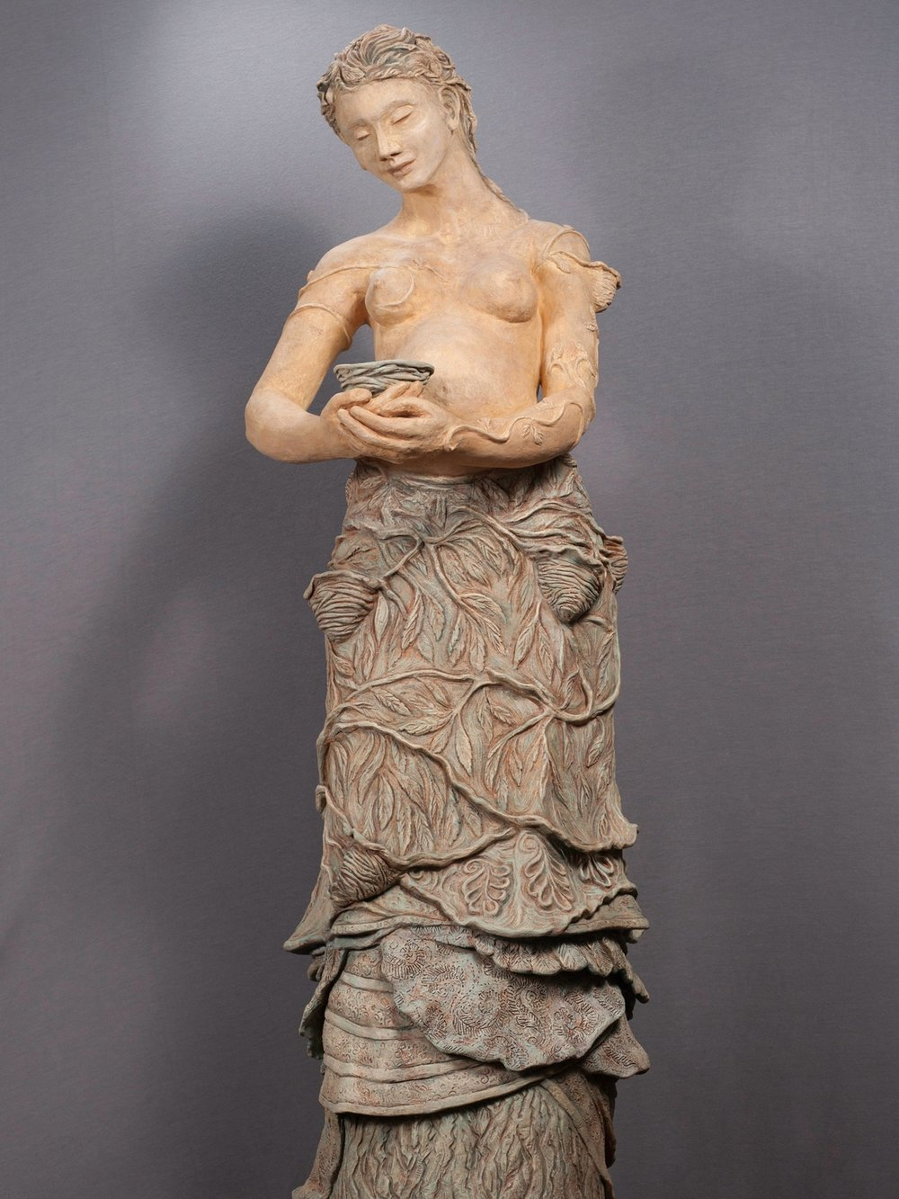 "Rooted in Ancient Wisdom - Stoneware, underglaze, mason stains, maple burl base53"" × 19½"" × 18""2013"
