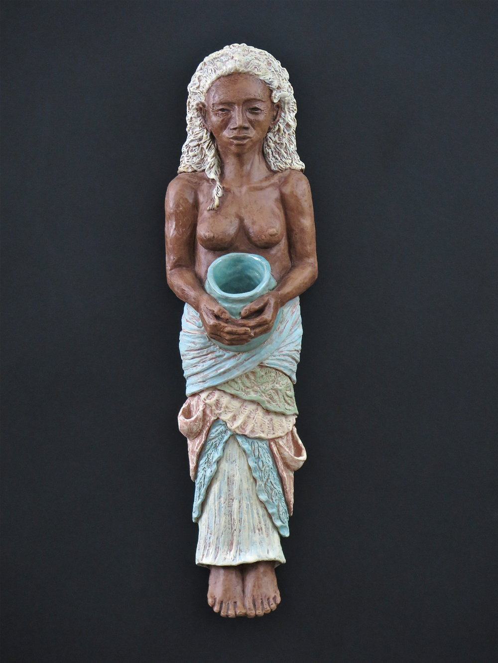 "Yemaya - Stoneware, engobe, oxide stains, underglaze, glaze, clay paint24½"" ×6½"" ×5""2015"