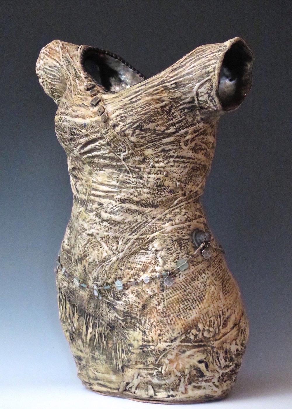 "Rising SpiritShedding Her Skin - Stoneware,slipcast fabric,oxide stains, underglaze,encaustic wax,vintage hardware,roman glass, silver18½"" ×14"" ×9""2015"