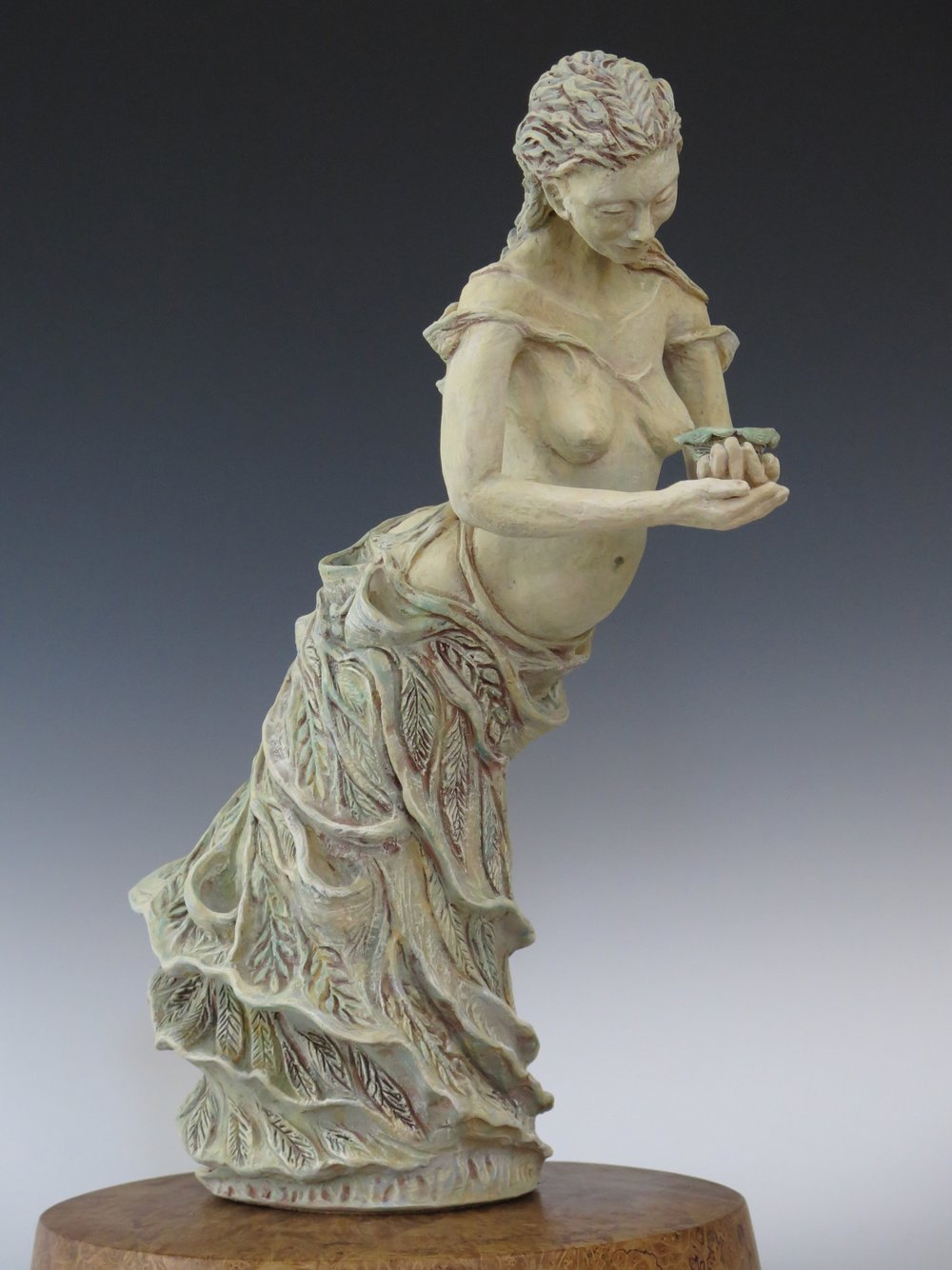 "Willow Waltz - Stoneware, underglaze, mason stains24"" × 8"" × 13""2"" × 13"" × 12"" (Maple burl base)2013"