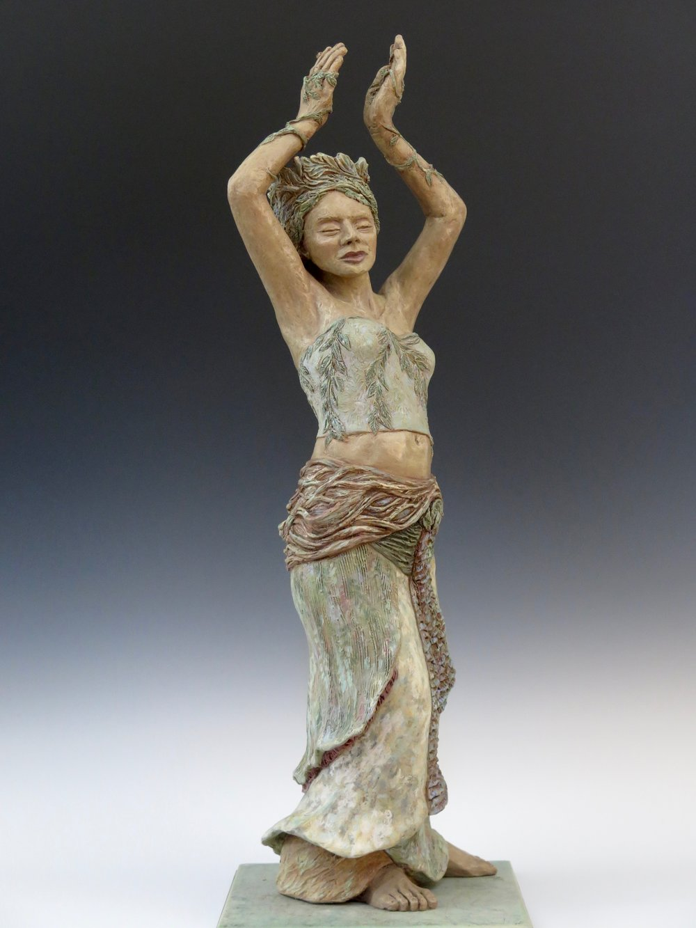"Dancing with the Wind - Stoneware, oxide stains, underglaze, clay paint, pigmented wax, ceramic & steel base35"" × 12"" × 12""2014"