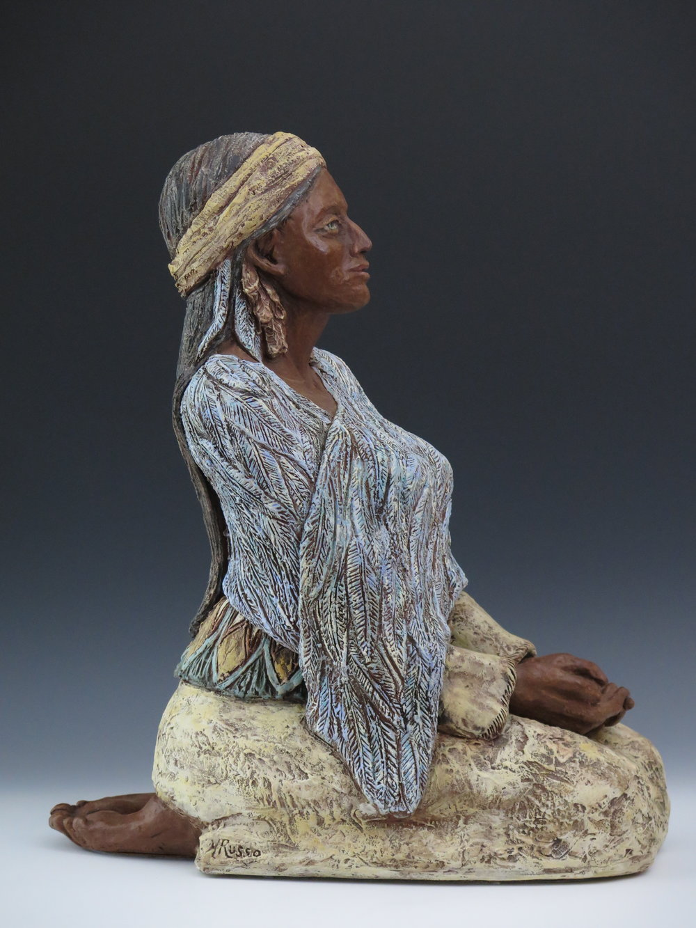 "Copper Woman - Earthenware, engobe, oxide stains, underglaze, clay paint, metallic wax21"" × 10"" × 18""2014"