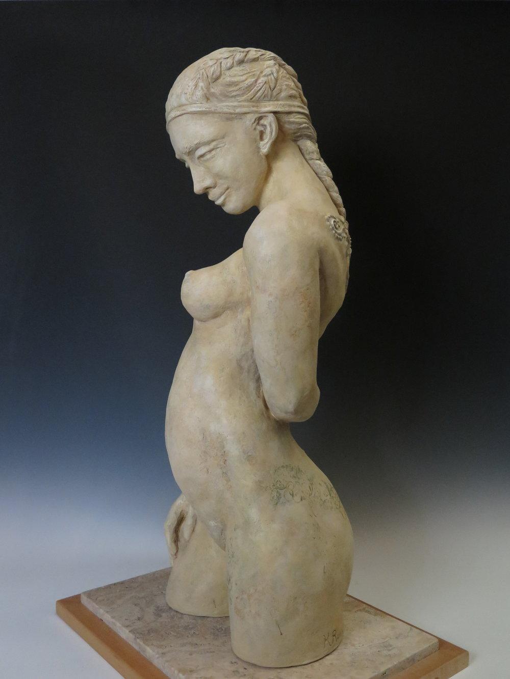 """Juno - Stoneware, underglaze, stone & wood base31½"""" ×18"""" ×14""""2011"""