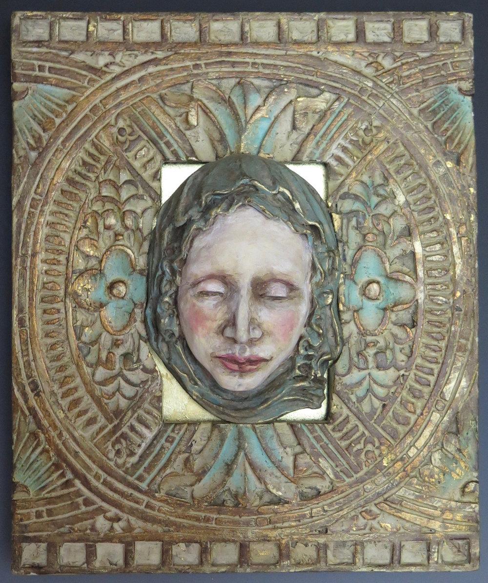 "Alegría - Stoneware, oxide stains, underglaze,clay paint, metallic pigment, gold leaf, wood frame12"" × 10""×2""2016"