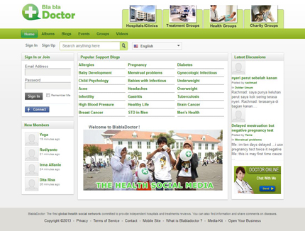 Blabladoctor - First community of patients in Indonesia (2010)The platform, moderated by local physicians, enabled patients to share their experiences and get free professional medicals tips related to their situation..