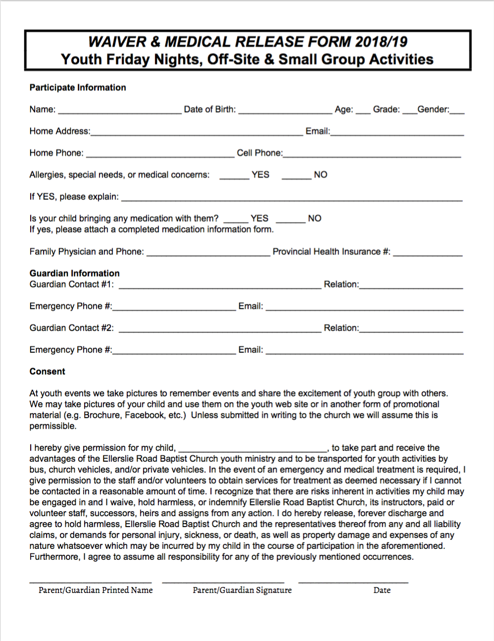 Youth Waiver