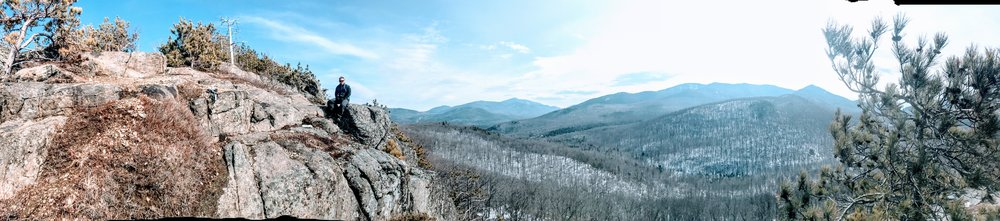 Pano of me near the Summit. Great views of some high peaks in the distance.