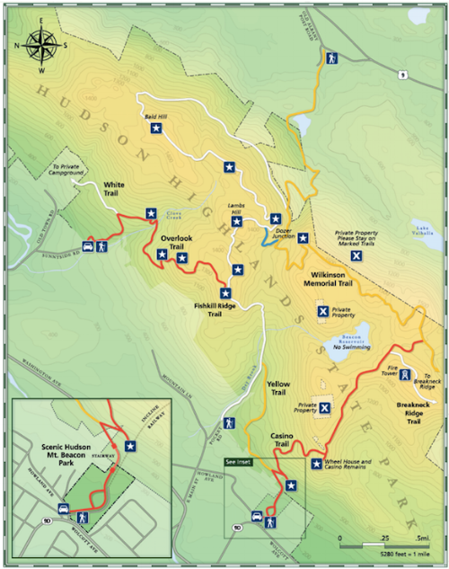 Mt. Beacon Park Trail Map. My route: Fishkill Ridge Trail (white) -> Lamb's Hill -> Dozer Junction (blue) -> Wilkson Memorial Trail (yellow) -> Casino Trail (red) -> Beacon Fire Tower trail (white) -> Beacon summit -> down Casino trail from summit to the mountain base