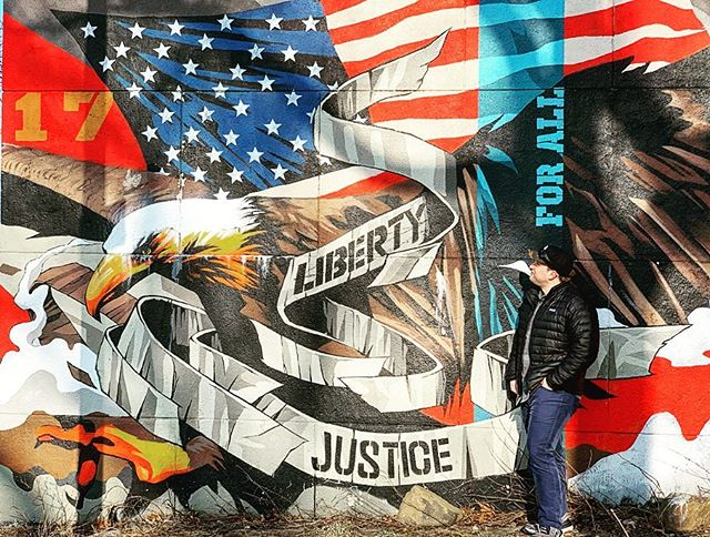 With Liberty and Justice for All . . . #america #freedom #liberty #justice #astoria #astoriapark #queens #newyorkcity #nyc #hellgate #streetart #americanpride #winterinnyc #statueofliberty #picoftheday #patriotic #cityart #iloveny