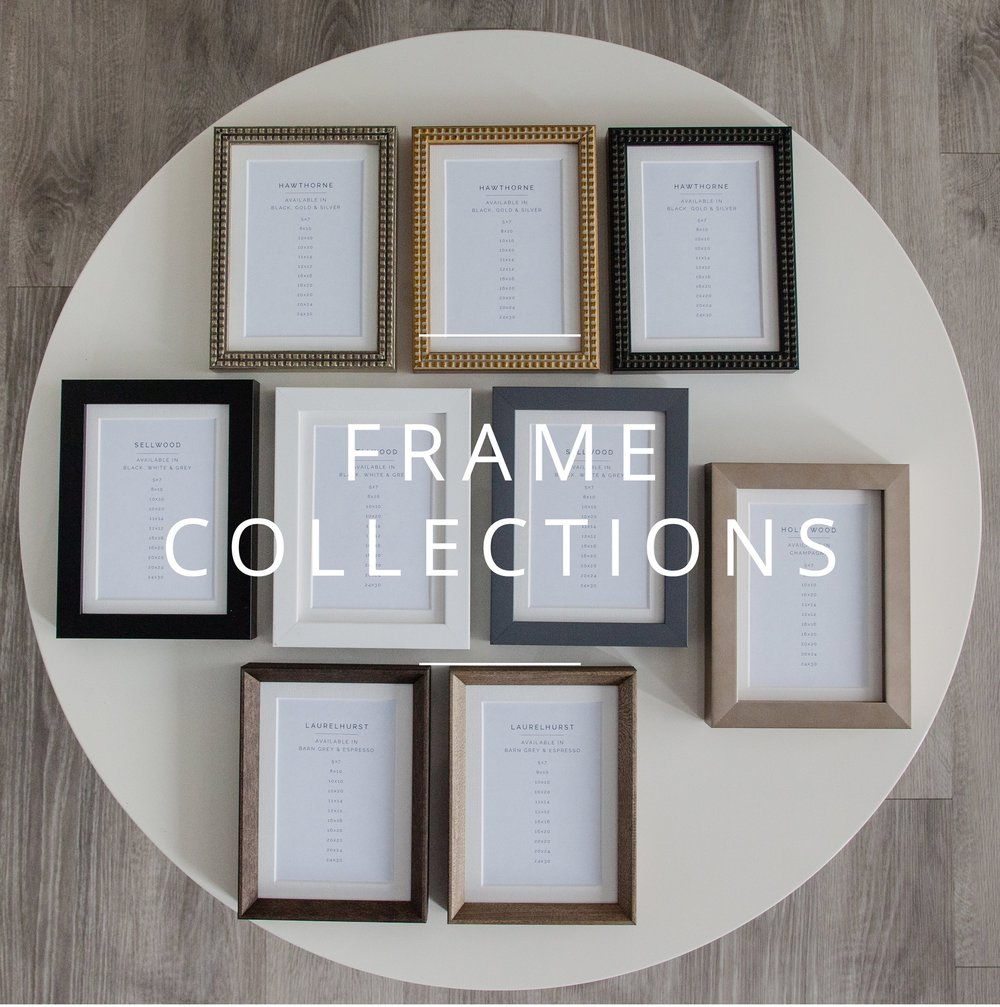 "With 9 different styles of frames there is one to match your space and personality.    Minimalistic?  Try to ""sellwood frames"" available in white, black, and grey  Chic?  Try the ""Hollywood frame"" available in Champagne.   Eclectic?  Try the ""Hawthorn frames"" available in gold, silver, and black  Traditional?  Try the ""Laruelhurst frames"" available in barn grey and espresso."